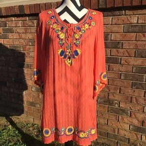 Umgee Embroidered Boho Dress